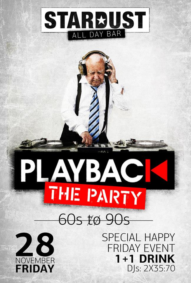 Stardust all day bar Kastoria:»Playback the party 60s to 90s», το Σάββατο 28 Νοεμβρίου