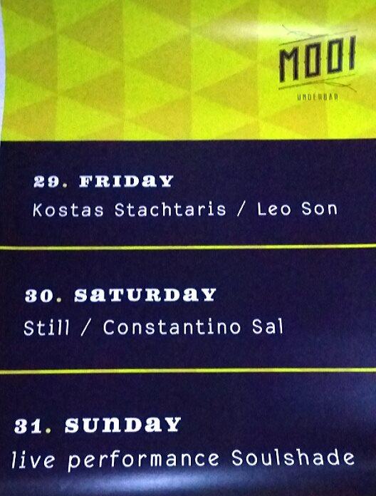 MOOI underbar Κοζάνη: 29/5K.Stachtaris/leonSon-30/5 Still/Constantino Sal-31/5 Live performance Soulshade